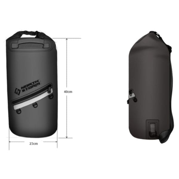 North Storm Waterproof 20 litre roll top dry bag drawing and dimsensions Height: 40cm Width: 23cm Depth: 23cm Capacity: 20 Litres Weight: 0.54kg