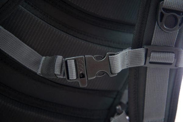 close photo of the safety whistle on the North Storm 30 litre waterproof backpack