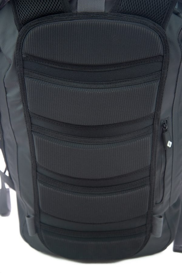 close up shot of the quick dry padding on the back of the North Storm 30 litre waterproof backpack