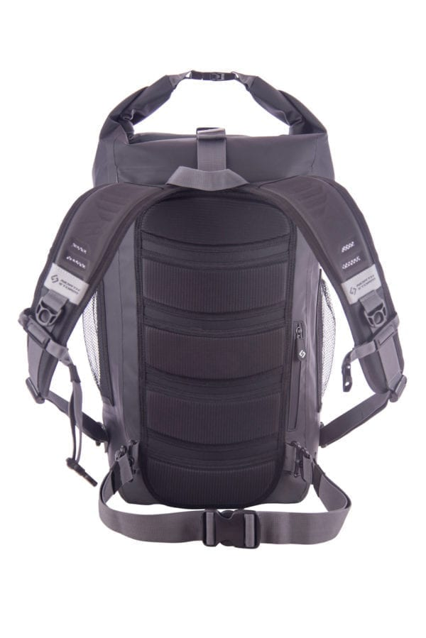 North Storm 30 Litre Waterproof Roll Top backpack back view