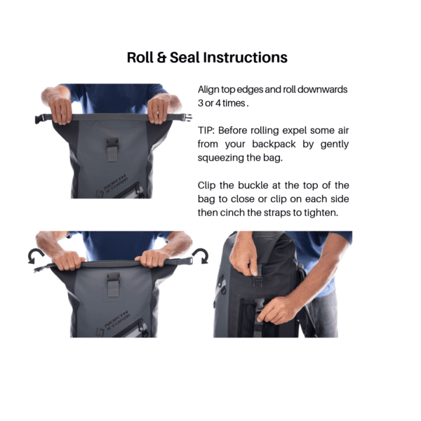 North Storm 30 Litre Waterproof Roll Top backpack instructions