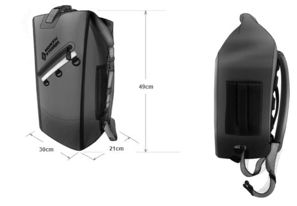 North Storm Waterproof Backpack Dimensions Drawing