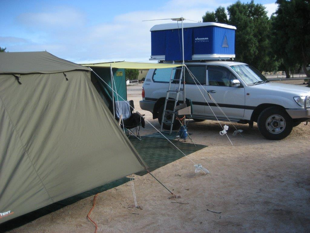 Photo of a tent and four wheel drive at a camp spot in Western Australia's Shark Bay