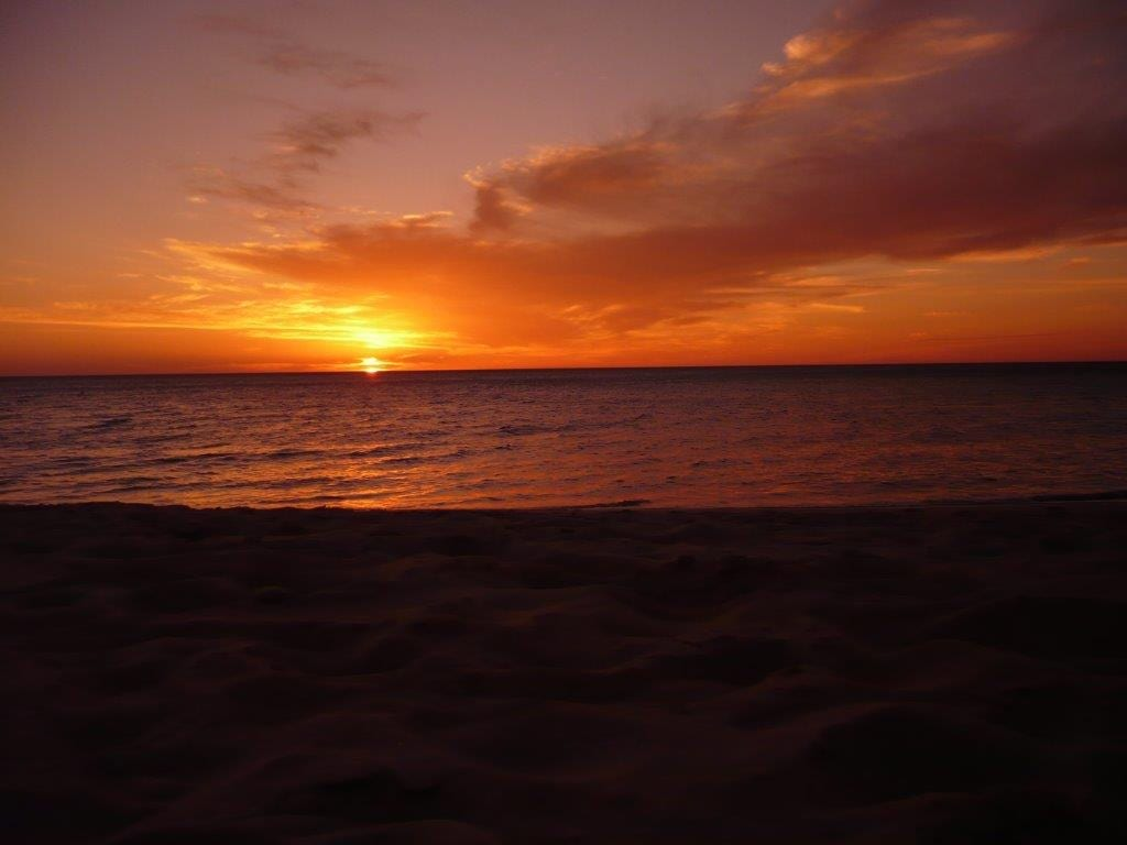 Sunset at Shark Bay with gorgeous oranges and yellows reflecting on the water