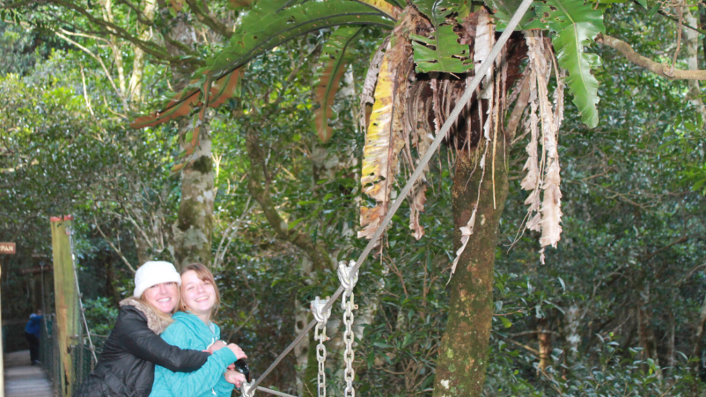 Lisa and Ellie on a suspension bridge in the Rainforest at OReillys Tree Top Walk Photo by North Storm Waterproof Bags