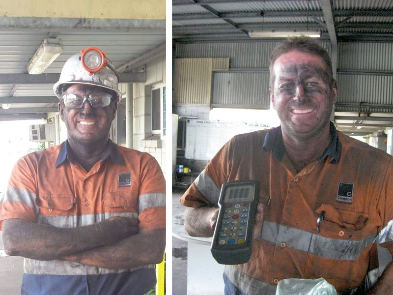 Man standing with his arms folded wearing a hard hat and covered in black coal. His name is Craig Clarke Northstorm waterproof bags user