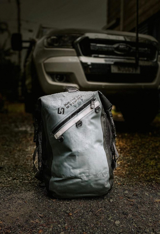 North Storm waterproof backpack in front of the Big Oz Explorers rig